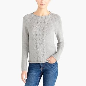 J Crew Cable-Knit Rollneck Sweater Gray Sz XS